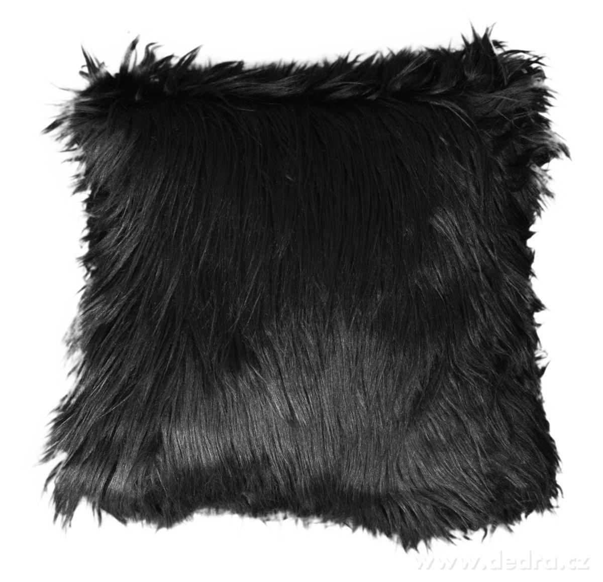 Dedra Dekorační potah na polštář, černý z česané umělé kožešiny
