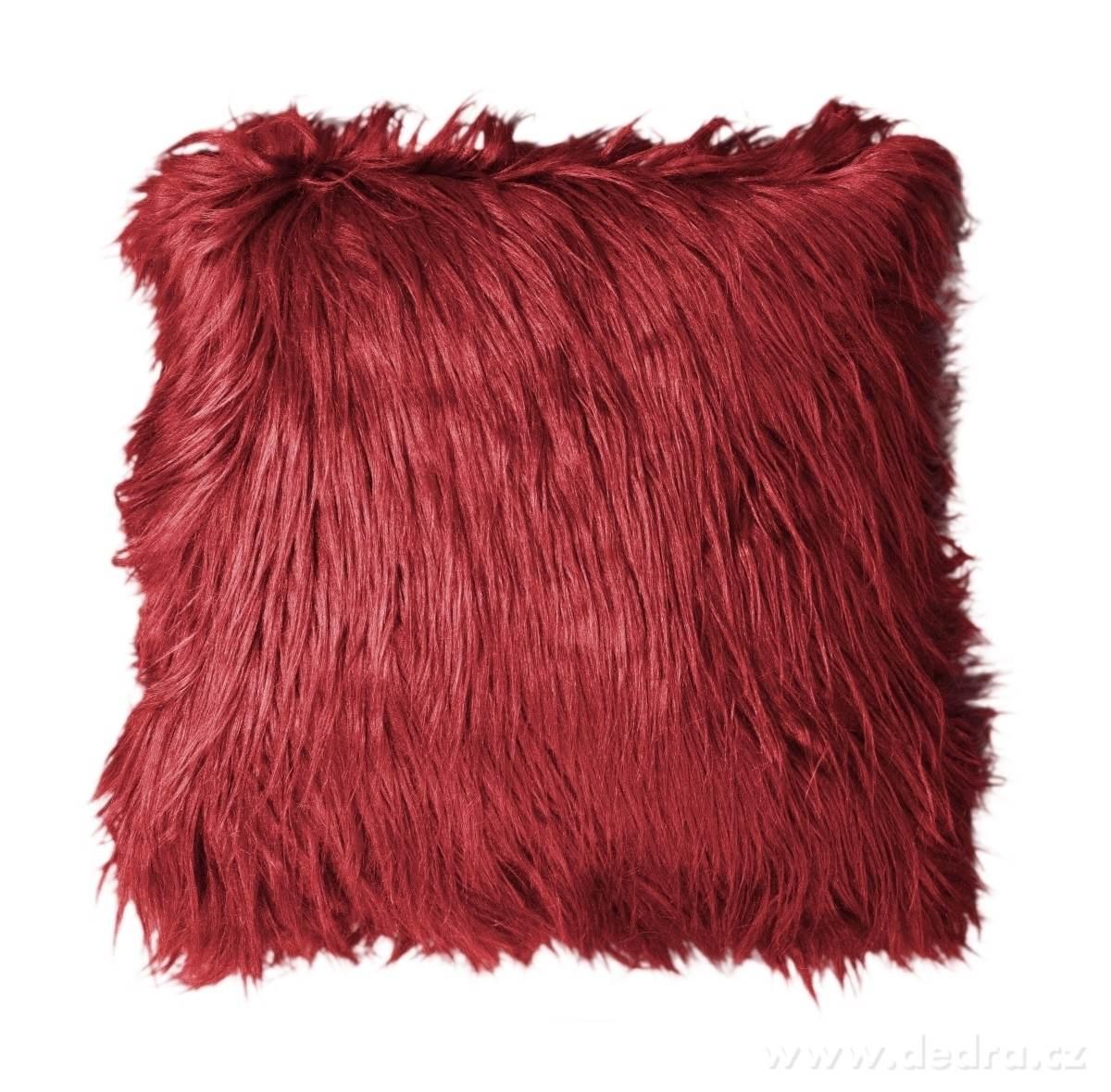Dedra Dekorační potah na polštář, bordó z česané umělé kožešiny
