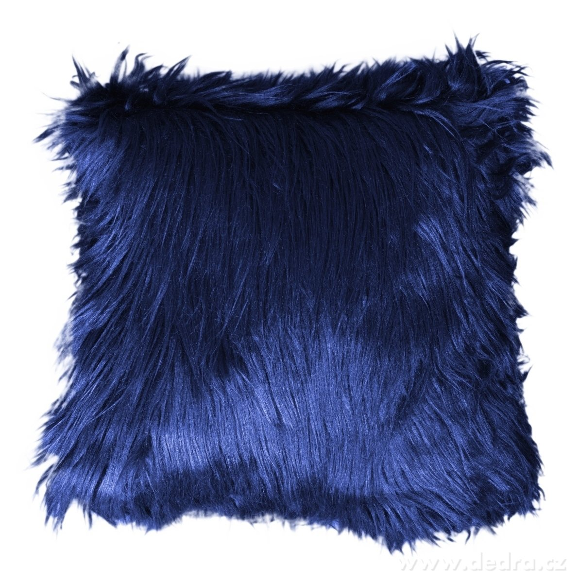 Dedra Dekorační potah na polštář, půlnoční modrý z česané umělé kožešiny