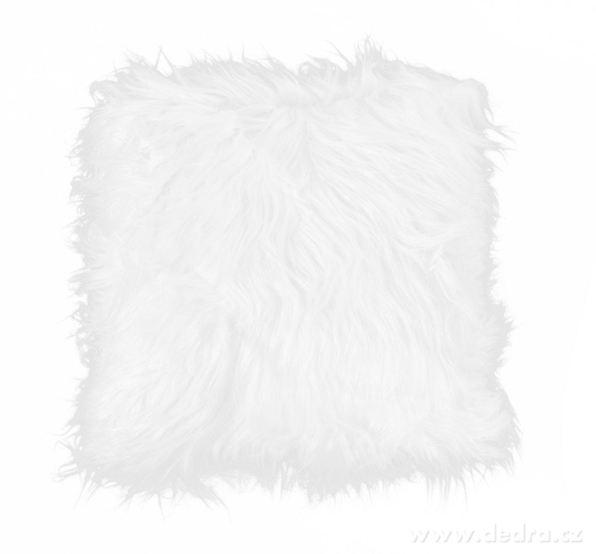 Dedra Dekorační potah na polštář, bílý z česané umělé kožešiny