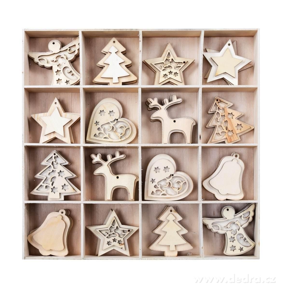 Dedra 48 ks kolekce ozdob vánočních dřevěných