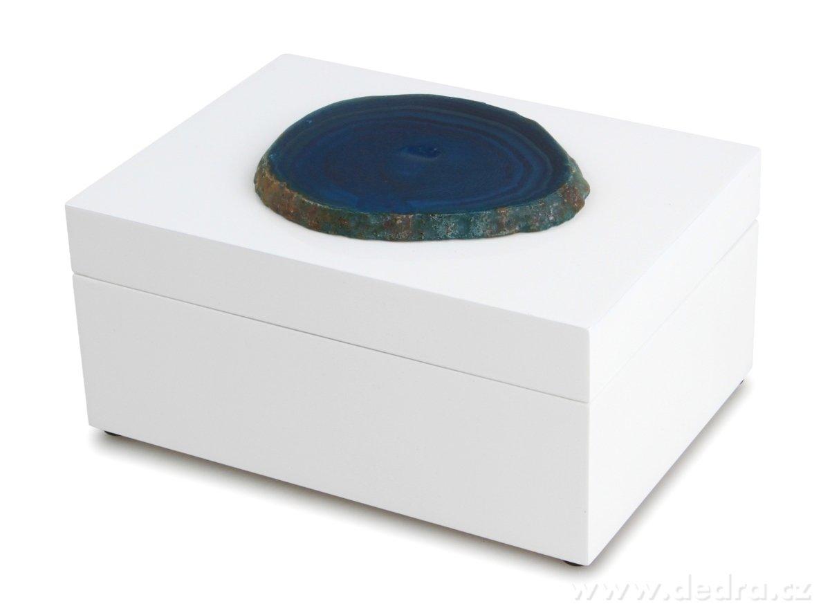 Dedra Dřevěná šperkovnice, kazeta s plátkem modrého achátu