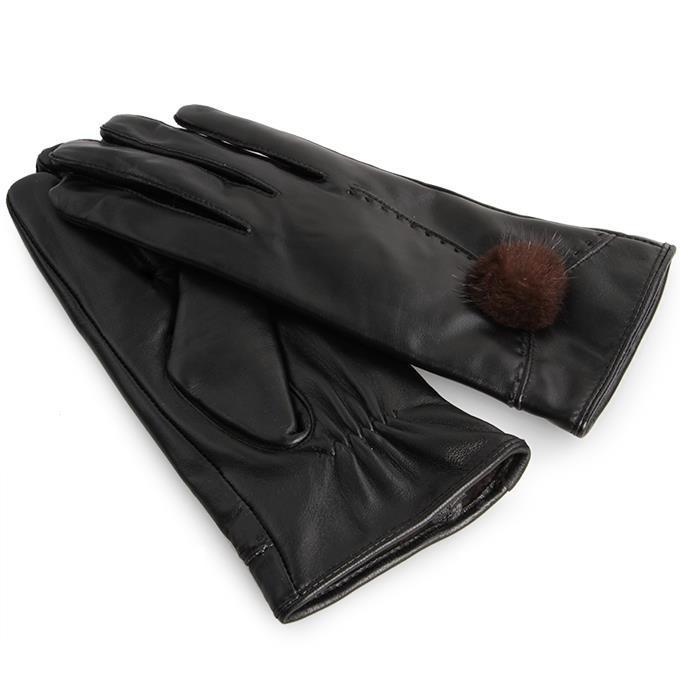 Dedra ELINA dámské rukavice elegantní kožené s bambulkou