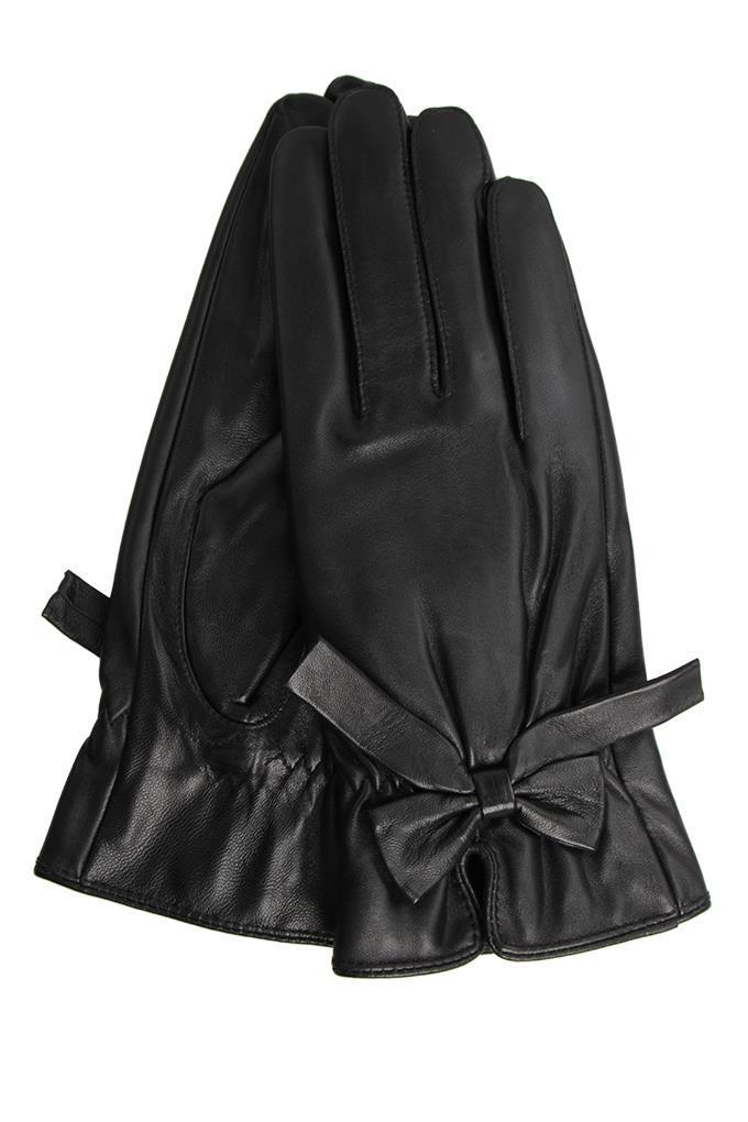 Dedra ELINA dámské rukavice elegantní kožené s mašlí