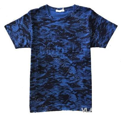 Kugo Bavlněné maskáčové tričko modré