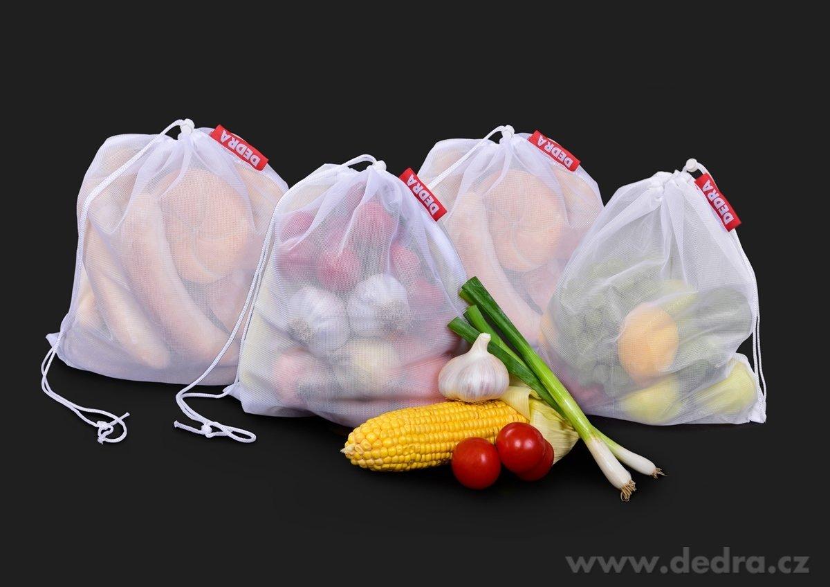 4ks Ekopytlík na potraviny, síťový sáček na pečivo, zeleninu, ovoce