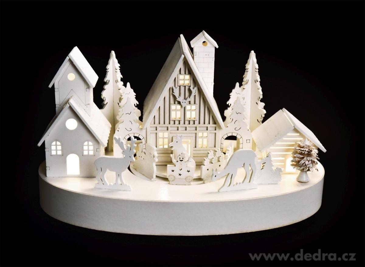 Dedra Zimní vesnička 27 cm s jezdícím vláčkem hrající zvonkohru s LED osvětlením
