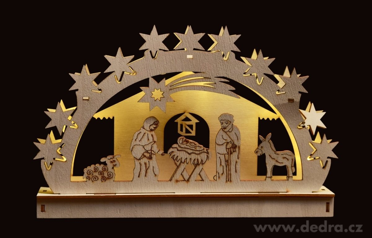Dedra Betlém s LED osvětlením dřevěný