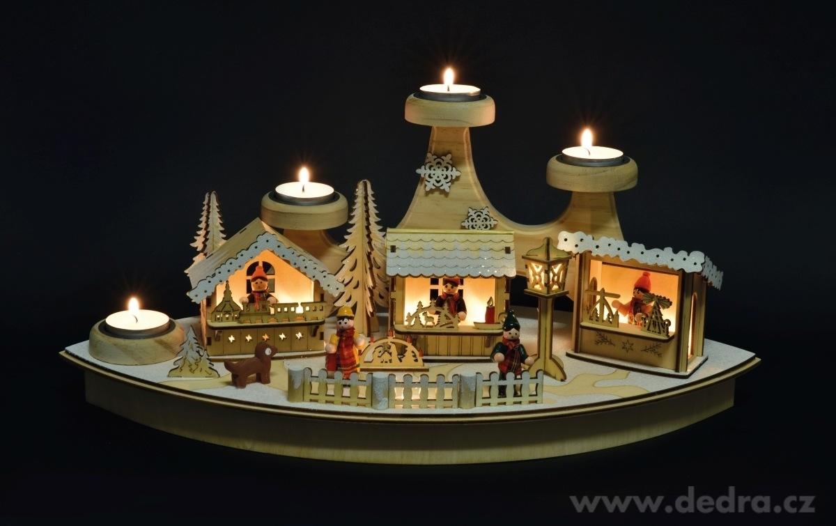 Dedra LED adventní svícen 45 cm na 4 čajové svíčky dřevěný s LED osvětlením