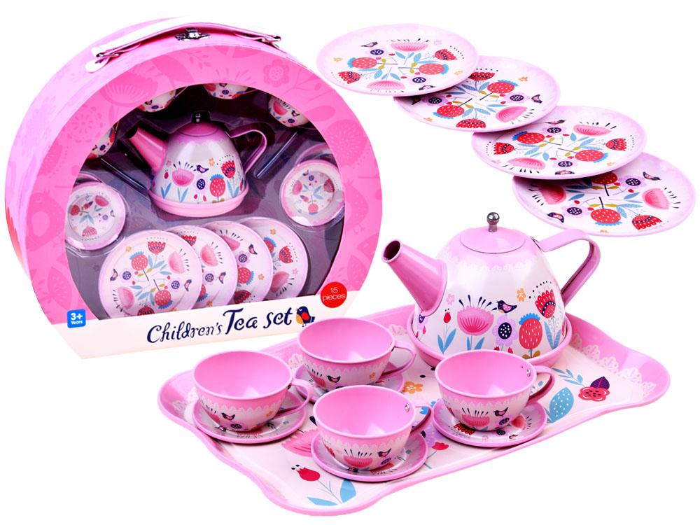 Kovový čajový set v kufříku