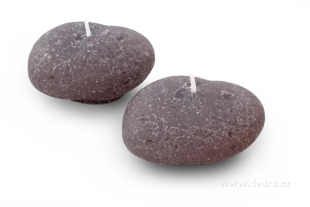 DEDRA DEKORATIVNÍ SVÍCE Dva lávové kameny