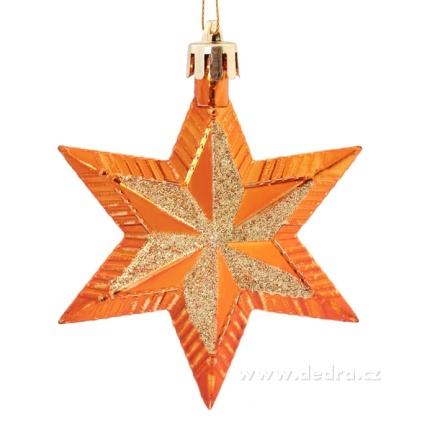 DEDRA 5 metalických hvězd oranžovo-zlaté s třpytivou malbou