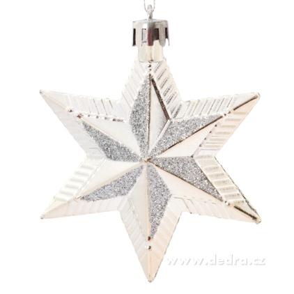 DEDRA 5 metalických hvězd s třpytivou malbou VÍCE BAREV