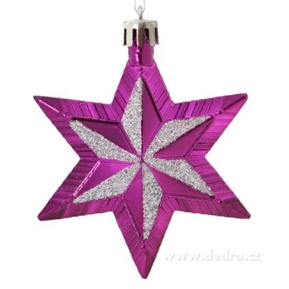 DEDRA 5 metalických hvězd s třpytivou malbou fialové