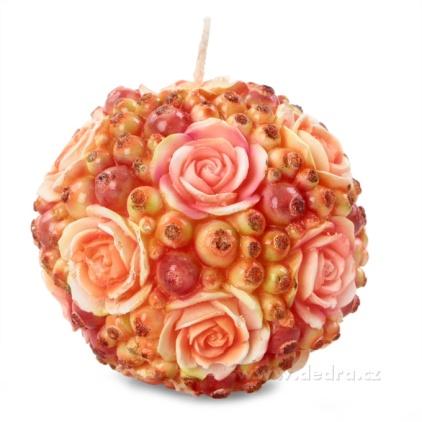 DEDRA Květinová koule dekorativní svíce z růžovo-oranž.růží