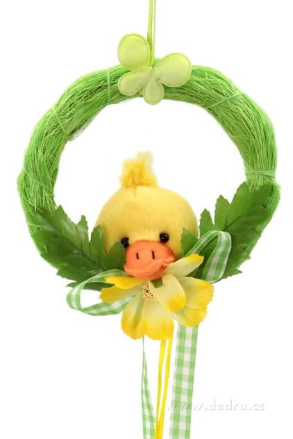 DEDRA Plyšová kačenka v zeleném kolečku velikonoční dekorace