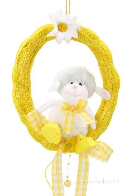 DEDRA Plyšová ovečka v zeleném kolečku velikonoční dekorace