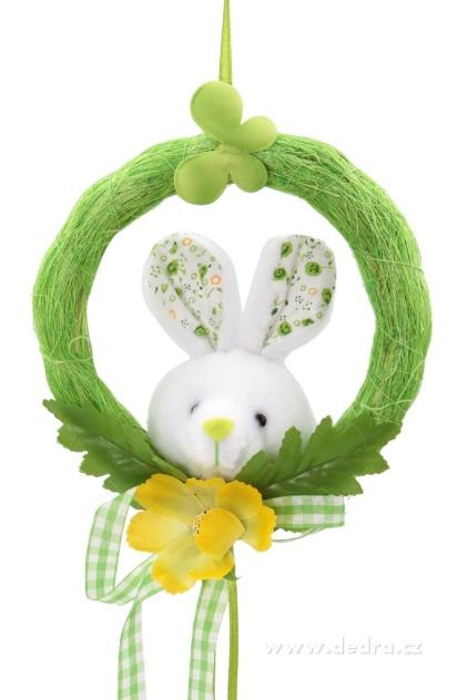 DEDRA Plyšový zajíček v zeleném kolečku velikonoční dekorace