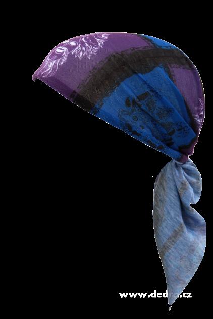 Multifunkční šátek modro-fial.s maskami SLEVA ZA VÍCE KS