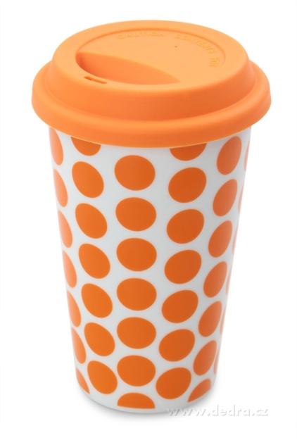 Dvoustěnný porcelán. termo hrnek Kelimero oranžový Dedra