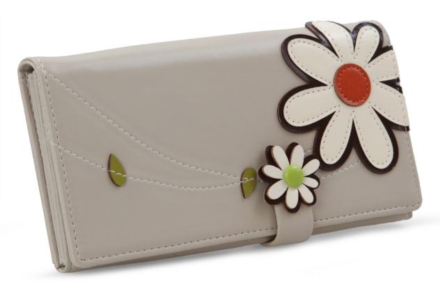 DEDRA Dámská peněženka s aplikací květin smetanová