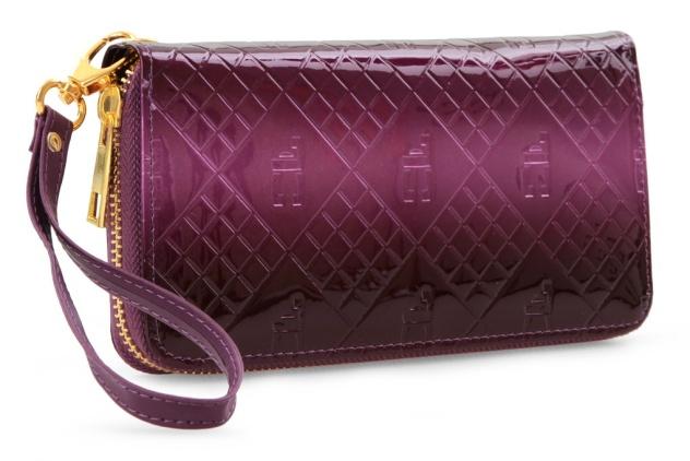 Luxusní dámská peněženka s FC monogramem , fialové tóny