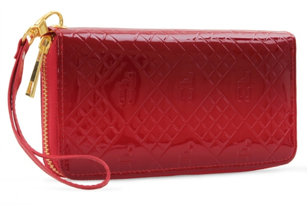 Luxusní dámská peněženka s FC monogramem , červené tóny