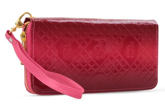 Luxusní dámská peněženka s FC monogramem , fuchsiové tóny