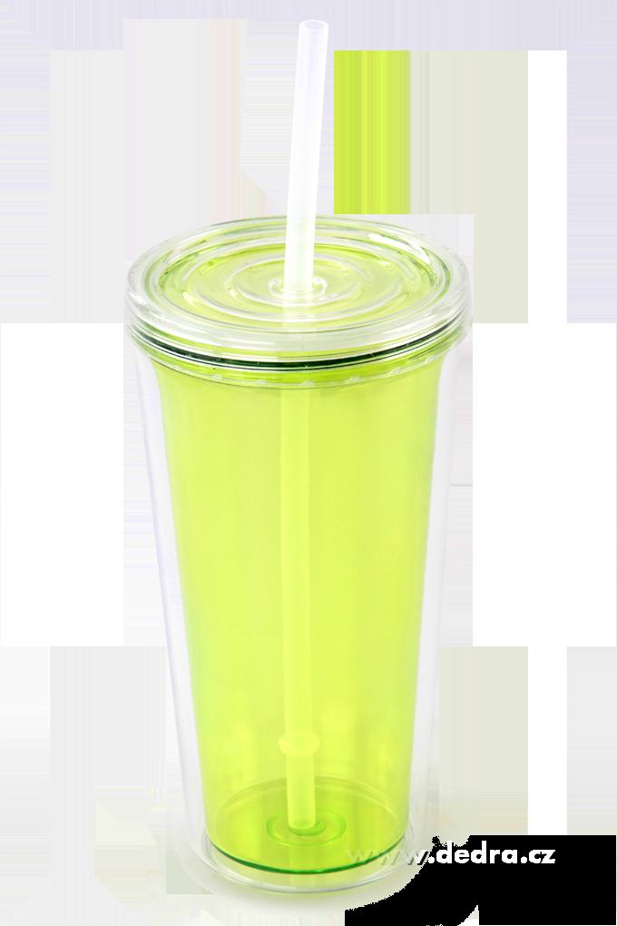 Kelimero s brčkem dvoustěnný termo hrnek - jasně zelené Dedra