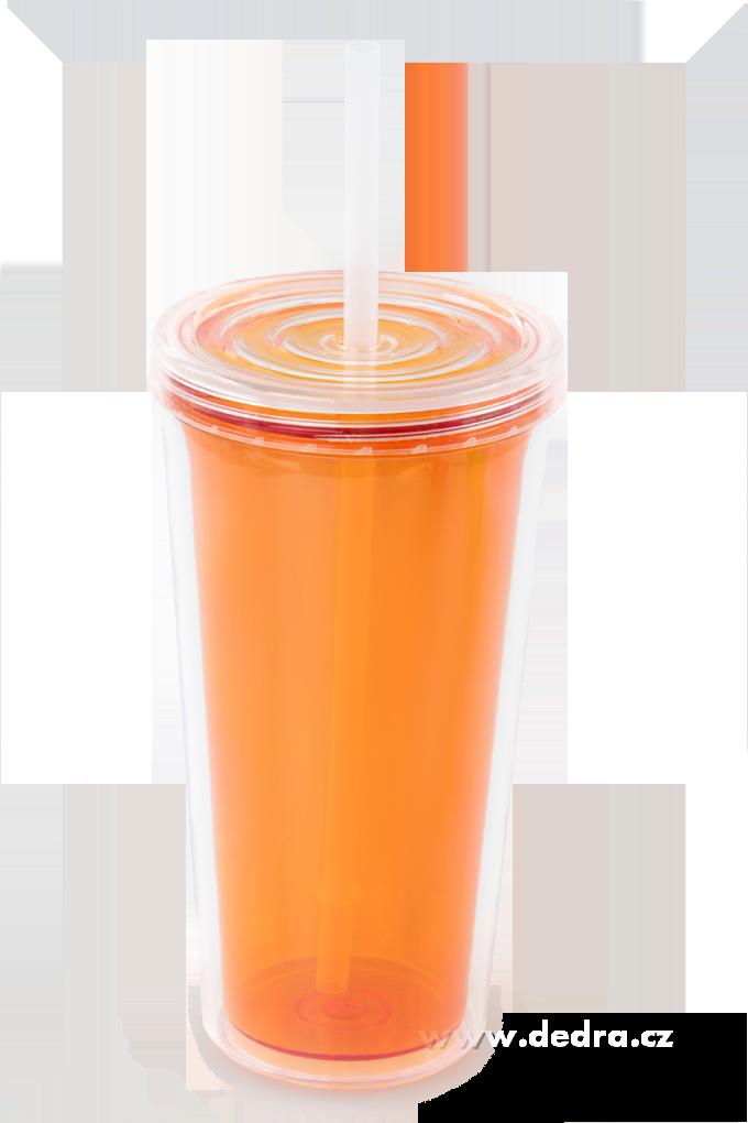Kelimero s brčkem dvoustěnný termo hrnek - oranžové Dedra