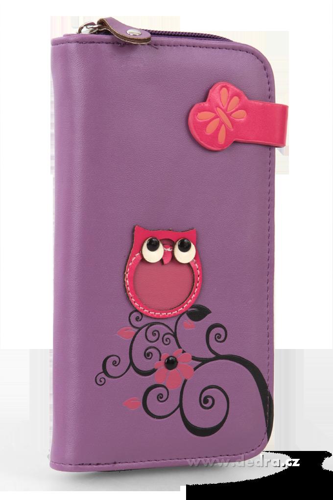 Dámská peněženka s aplikací sovičky fialová Dedra
