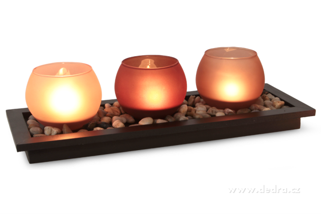 DEDRA 3ks-skleněný svícen na dřevěném podstavci