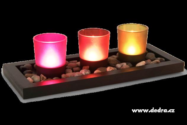 DEDRA 3ks-skleněných svícnů na dřevěném podstavci