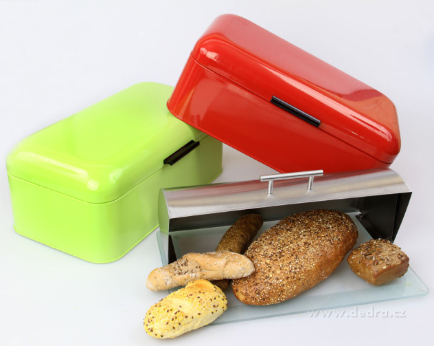 Dedra velká kovová dóza na chléb a pečivo, chlebník červený