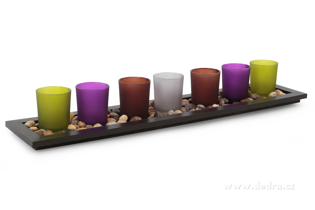 7ks skleněných svícnů Dedra