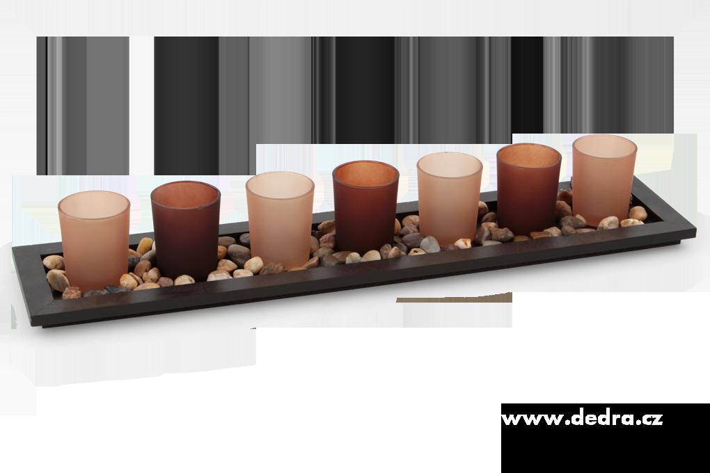 7ks skleněných svícnů přírodní tóny Dedra