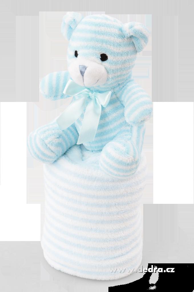 Hebká přikrývka s plyšovým zvířátkem modrý medvídek Dedra