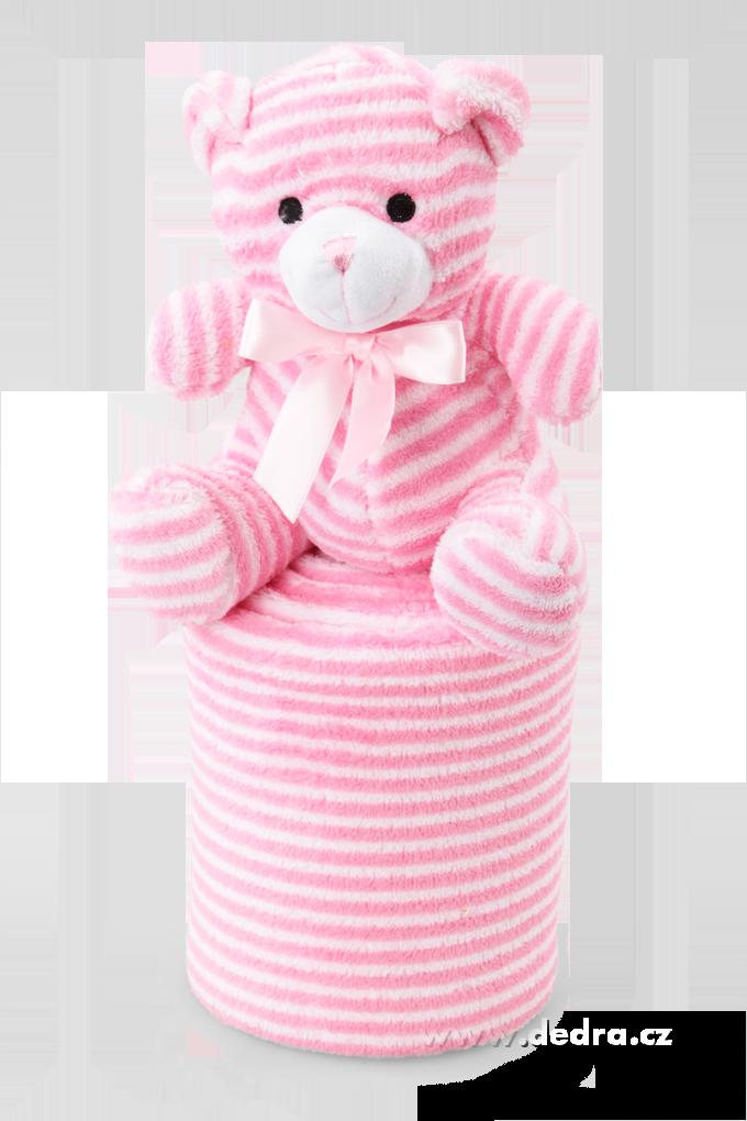Hebká přikrývka s plyšovým zvířátkem růžový medvídek Dedra