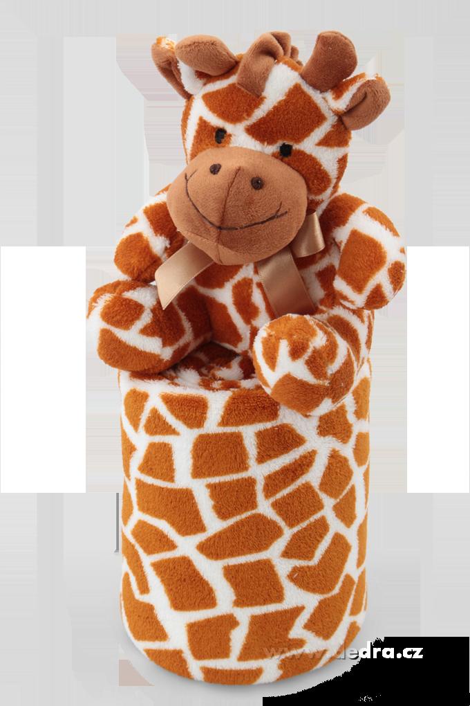 Hebká přikrývka s plyšovým zvířátkem žirafka Dedra