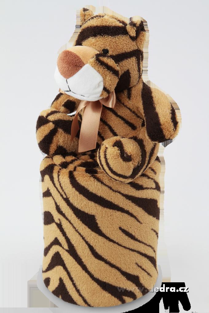 Hebká přikrývka s plyšovým zvířátkem tygřík Dedra