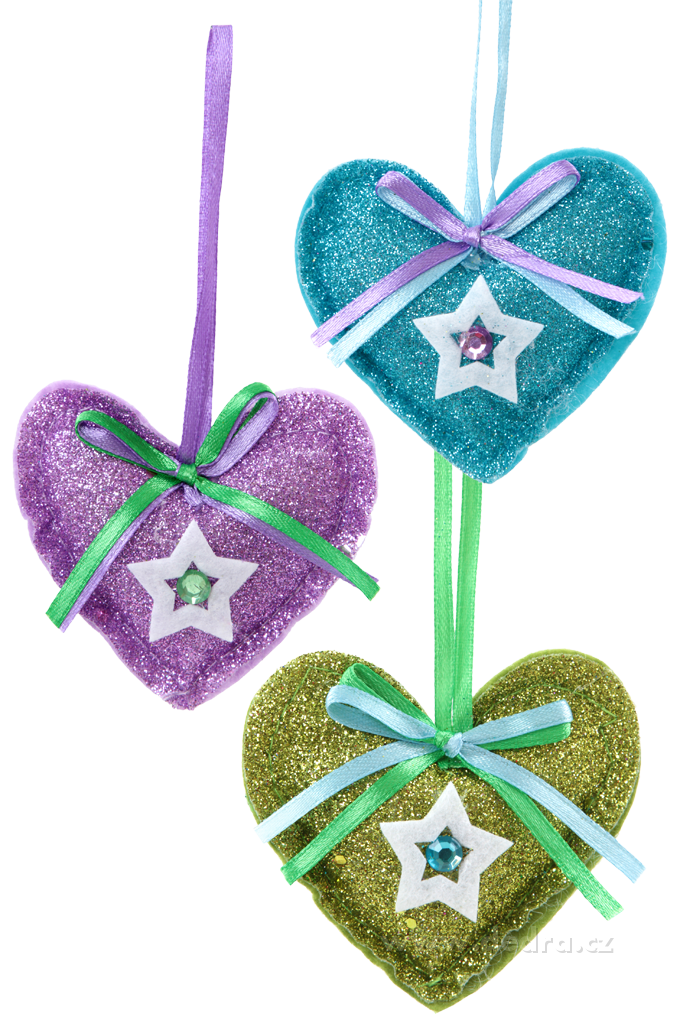 3 třpytivé textilní dekorace - srdce Dedra