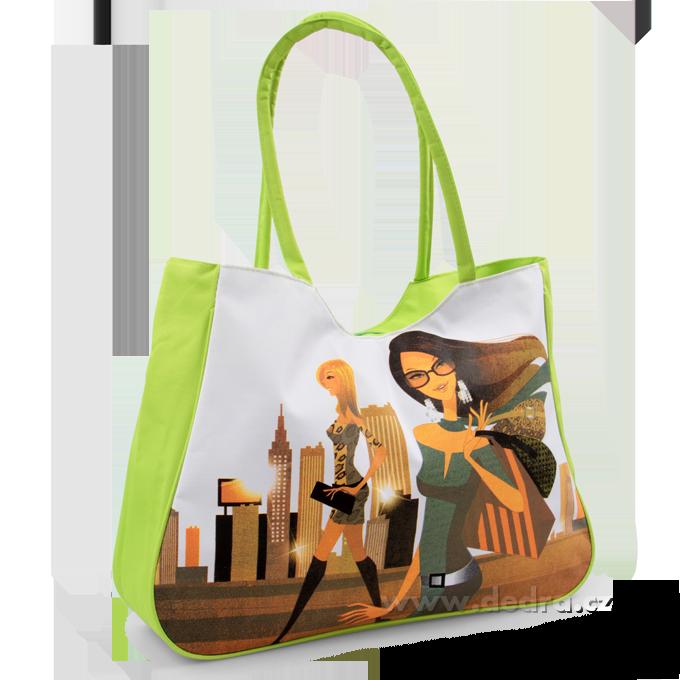 Velká textilní taška s uzavíráním na zip zelená fashion Dedra