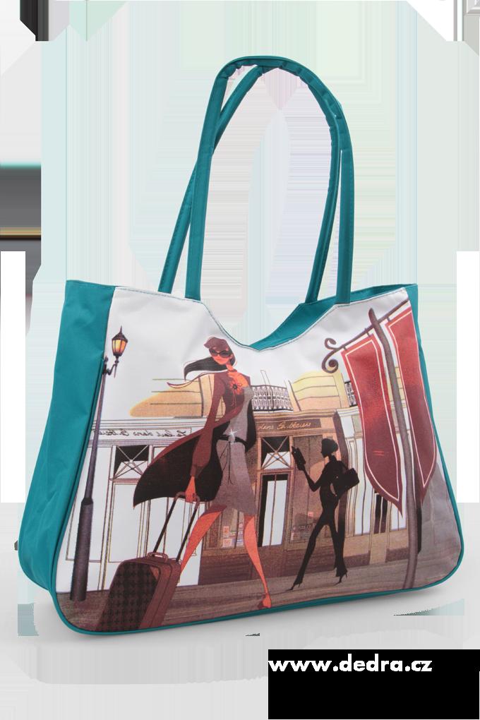 Velká textilní taška s uzavíráním na zip tyrkysová fashion Dedra