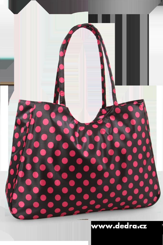 Velká textilní taška černá s fuchsiovými puntíky Dedra