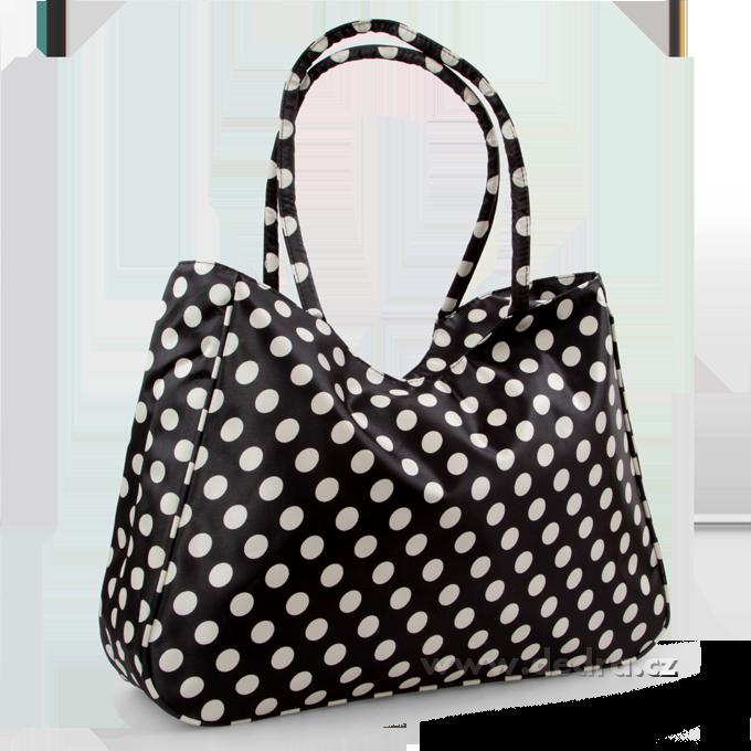 Velká textilní taška černá s bílými puntíky Dedra