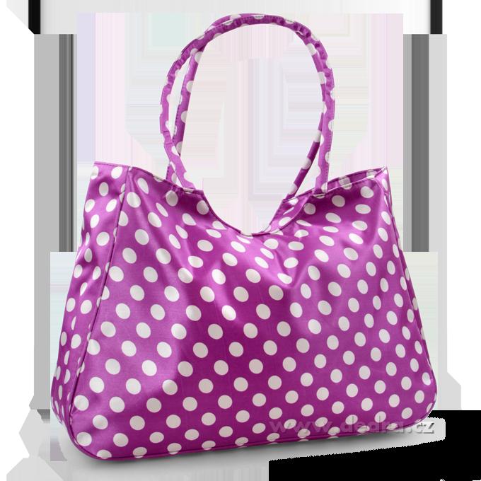 Velká textilní taška levandulová s bílými puntíky Dedra