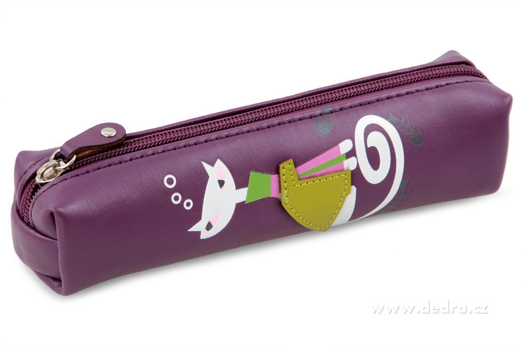 Pouzdro na drobnosti a psací potřeby s kočkou, fialové Dedra