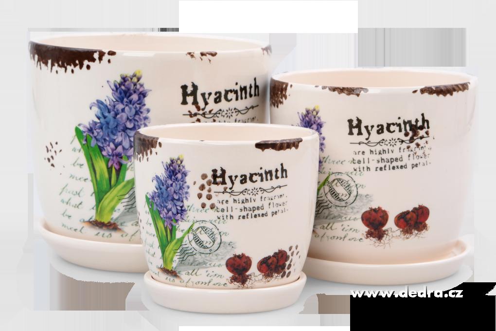 3 ks keramických obalů na květináč s motivem hyacintů , fialové Dedra