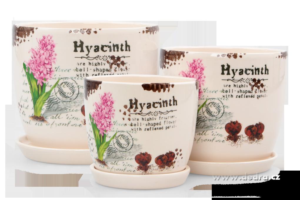 3 ks keramických obalů na květináč s motivem hyacintů , růžové Dedra