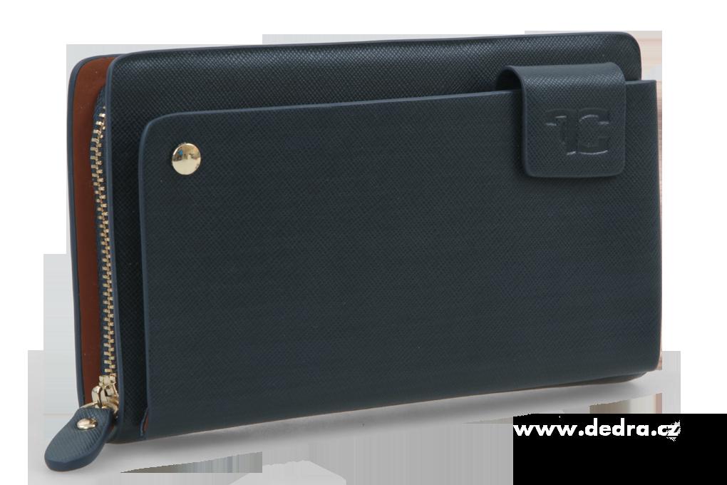 DEDRA 2v1 luxusní pánská peněženka/pouzdro na doklady kobaltová